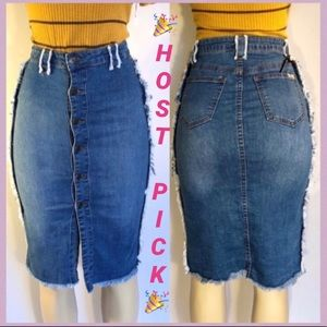 BLUE JEAN DISTRESSED BUTTON UP KNEE LENGTH SKIRT